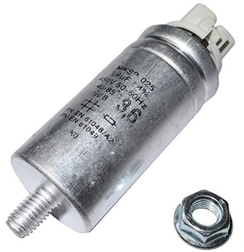 AERZETIX - C47149 - Kondensator für Entladungslampe/Leuchtstoffröhren/Luftballons - Polypropylen - Doppelklammern/Buchsen/Klemmen - M8-Gewinde - 3.6uF ±4% - Ø30x63mm - zylindrischer Kunststoffkörper