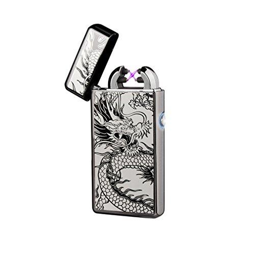 Emsmil USB Mechero Electrico Encendedor Lighter Antiviento Electronico Recargable Doble Arco sin Llama para Cigarrillos Metal Clasico de Hombre Dragón
