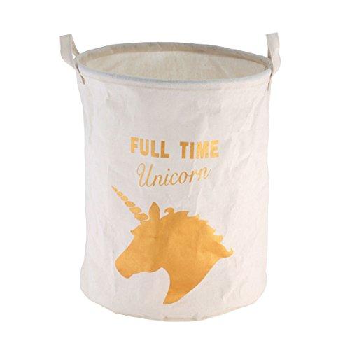 axentia Wäschetonne Einhorn weiß/gold, platzsparender Wäschesammler 40 Liter Volumen, platzsparender Wäschesack mit viel Stauraum, zusammenfaltbare Wäschetasche aus Polyester in edler Optik
