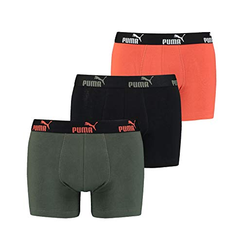 PUMA 6 er Pack Boxer Boxershorts Herren Unterwäsche sportliche Retro Pants (Army Green-002, XL)