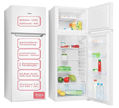 Amica 206L A+ - Refrigerador automático (144 cm), color blanco Abtauen DT 374 010 W