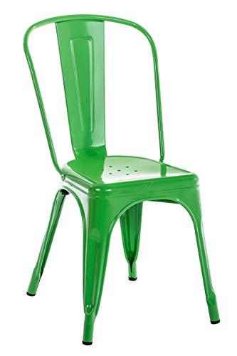 CLP Metallstuhl Benedikt I Stapelstuhl Aus Metall Mit Rückenlehne Und Bodenschonern I Sitzhöhe: 44 cm, Farbe:grün