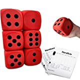 4 Inch Jumbo Foam Dice Set of 6 Yard Outdoor Games for Adults and Family Includes Elegant Carry Bag and Scoresheets