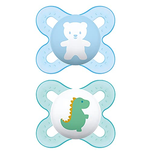 MAM Start Newborn Pacifiers (2 pack, 1 Sterilizing Pacifier Case), Newborn Baby Boy Pacifiers, Best Pacifier for Breastfed Babies, Self Sterilizing Baby Pacifier Case, Designs May Vary