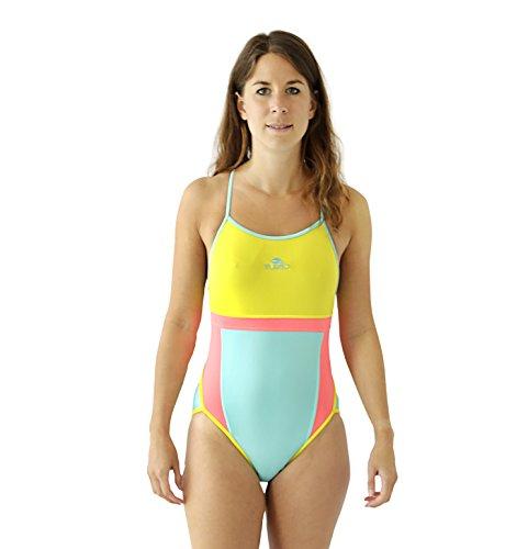 Turbo Sport Badeanzug Jump (Thin Strap) für Schwimmerinnen Waterpolo Triathlon - Spaghettiträger Schwimmanzug NEON türkis gelb (Gr. 38 (Turbo Gr. XL))