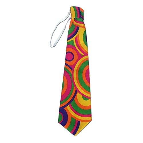 NET TOYS Bunte Krawatte Flower Power Schlips pink-grün Hippie Binder 70er Jahre Kostümzubehör Disco Tie Retro Party Clown Outfit Accessoire