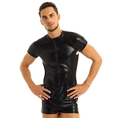 iixpin Herren Body Zip Schwarz Wetlook Bodysuit Overall Männerbody Einteiler Herrenbody Leder-Optik Kontrast Mesh Gr.M-XXXL Schwarz Large
