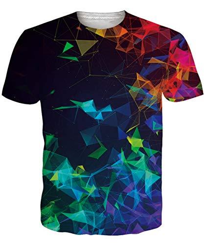 Fanient Herren Damen Aufdruck T-Shirt Rundhals Tee S M L XL XXL, A-schwarz-wolf, XL
