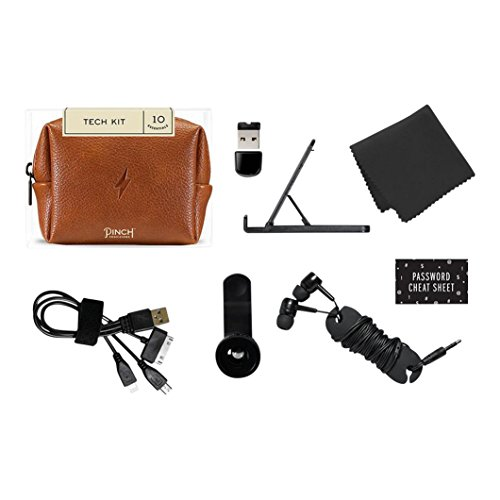 """Pinch Provisions Tech Kit, Cognac, 4"""" x 3"""" x 2"""" – Tech Accessories Bag Filled with 8 Essentials Including Earbuds, Charging Cord, USB Wall Charger and More, Tech Gifts for Men & Women"""