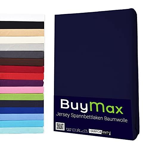 Spannbettlaken 90x200cm Baumwolle 100% Spannbetttuch Bettlaken Jersey, Matratzenhöhe bis 25 cm, Farbe Marineblau