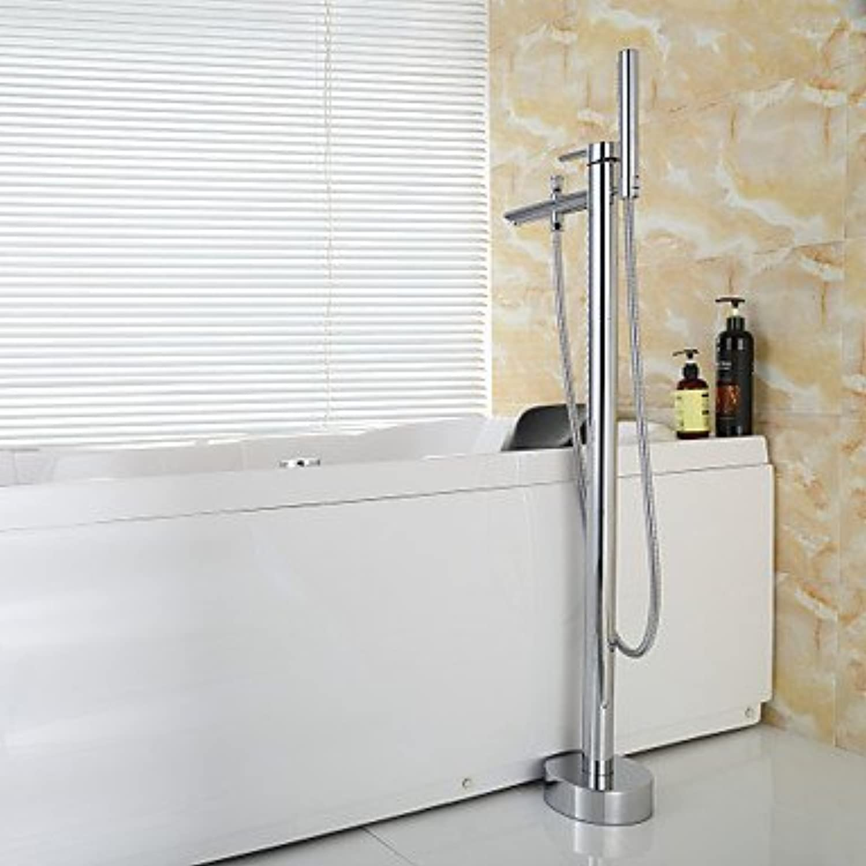 BTSCJW Bathtub faucet,Contemporary Handshower Included Floor Standing Tub Brass Chrome