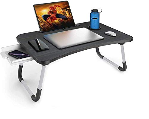 HAVENGOOD Multi-Purpose Laptop Table | Integrated Carry Handle & Dock Stand | Study & Bed Table | Foldable & Portable | Ergonomic Edges | Non-Slip Legs | Engineered Wood | Laptop Desk for Bed (Wood).