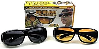 GOSFRID with GF LOGO HD UV Protection Wraparounds Lens Night Vision Unisex Sunglasses Combo Pack (Black and Yellow)