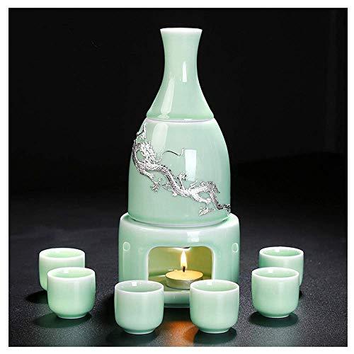 YLJYJ Teteras, Juego de Sake de celadón con Caja de Regalo para Calentar el Sake, Embalaje de 9 Piezas (Juego de Tazas)