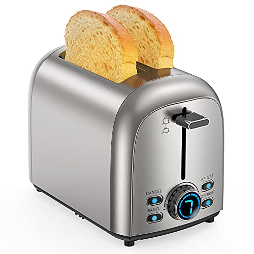 Toaster 2 Slice , Upgraded Stainless Steel Toaster, Extra Wide Slot...
