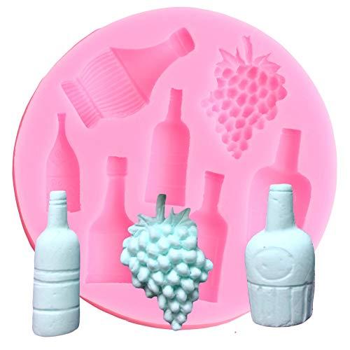 ZHQIC 3D Craft Wine Bottle Grape Pot Silicone Mold Cake Decorating Tool Fondant Mould Chocolate Gumpaste Molds Cupcake Baking Moulds