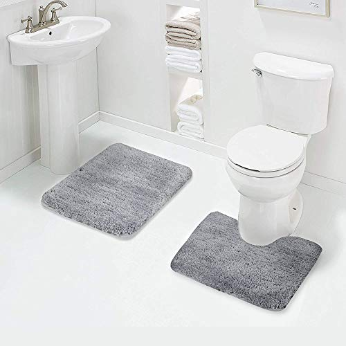 Walensee Shaggy 2 Piece Bath Rug Sets (Grey) 20 x 24 U Shape Contour Rug & 20 x 32 Bathroom Rug Machine Wash/Dry Bath Mats for Bathroom Plush Absorbent Bathroom Rugs and Mats Set Non Slip