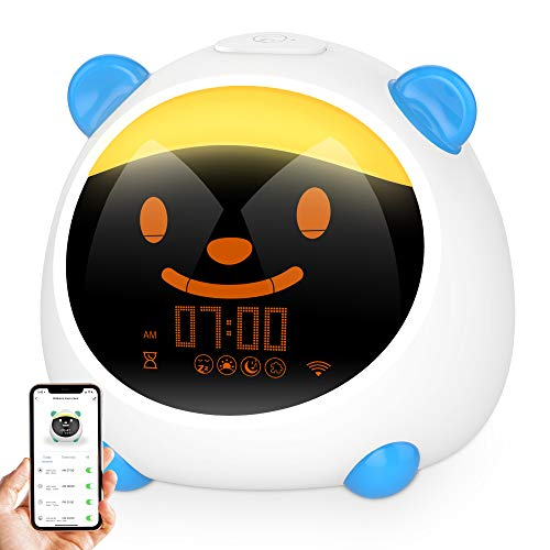 Smart Wecker Kinder, GRDE Kinder Schlafen Trainer mit 7 Farben 6 Emotions 10 Music 4 Modi Nachtlicht Kinder mit Google Assistant Child Lock 10 Klänge Level Snooze-Funktion Intelligentes Wecker