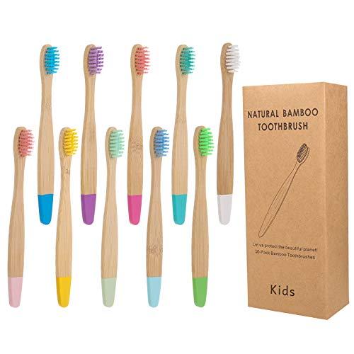 Veraing 10 Pack Bambus Zahnbürsten, Holzzahnbürsten mit weichen Borsten BPA freie Weiche Borsten Biologisch Abbaubar Umweltfreundlicher Packung Für Kinder und Erwachsene