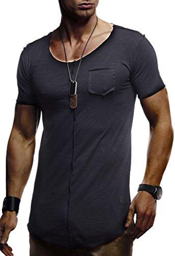 Leif Nelson Herren Sommer T-Shirt Rundhals-Ausschnitt Slim Fit Baumwolle-Anteil Basic Männer T-Shirt Crew Neck Hoodie-Sweatshirt Kurzarm lang LN6288 Schwarz Large