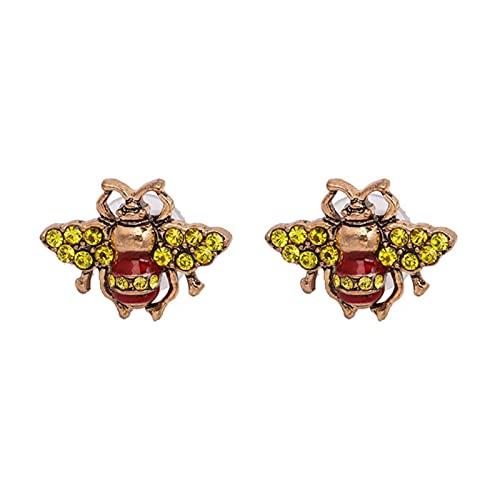 LCUK Abeja Fresca Diamante Moda Mujer Insecto Animal Pendientes imitación Perla Fiesta Boda Pendiente de Oro aleación única como