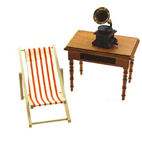 Casa de muñecas miniatura Silla de playa de madera plegable Mini Chaise Longue Juguetes con muñeco de rayas Casa Muebles de exterior Accesorios Color aleatorio Casa Casa Muebles de familia Miniatura