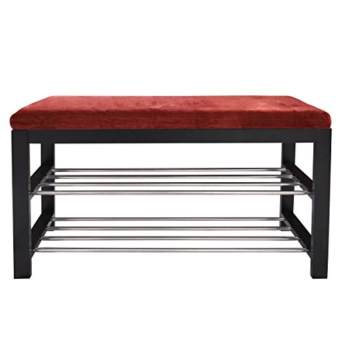 Shoe Rack Bench with Cushion Storage for Entryway Hallway Red and Black