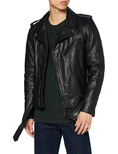 Schott nyc LC1140BLK Leather Jacket, Black, Small Mens