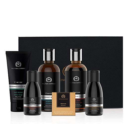 Charcoal Grooming Kit By The Man Company | Packed In Elegant Wooden Gift Box | Set Of 6 - Body Wash, Shampoo, Face Scrub, Face...