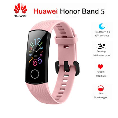 """Huawei Honor Band 5 0.95"""" Full Touch AMOLED Color Screen Smart Bracelet Heart Rate Monitor Sleep Monitor Blood Oxygen Monitor Home Button All-in-One Activity Tracker GPS 5ATM Waterproof (Pink)"""
