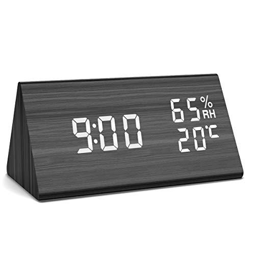 NBPOWER Wecker Digitaler - LED Wecker Uhr Holz Standuhr, Digitalwecker Tischuhr mit Sprachsteuerung/Datum/Temperatur und Luftfeuchtigkeit, für Zuhause, Schlafzimmer, Nacht Kinder und Büro