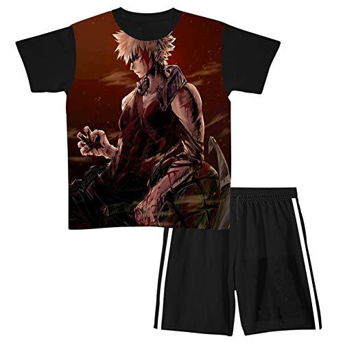 Kat-Suki Ba-kugo 2-Piece Outfit Youth Short Sleeve Set,Teenage Boys Tops and Shorts,Kids t-Shirt & Shorts Sets Large Black