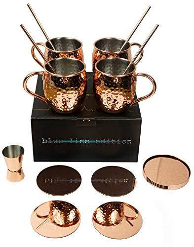 VinoYes Moscow Mule 14 Teile Set Edles Cocktail Geschenkset – 4er Kupfertassen, 4 Untersetzer, 1 Halter, 4 Strohhalme, 1 Messbecher