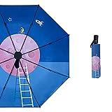 HHBB Paraguas plegable automático, paraguas de las señoras, protección solar y protección UV sombrilla