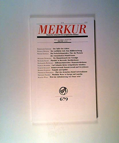 Merkur. Deutsche Zeitschrift für europäisches Denken, Nr. 679, Heft 11, 59. Jahrgang, November 2005