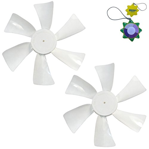 """HQRP 2-Pack 6"""" Fan Blades CCW 1/8"""" D-Bore Replacement for 12V RV Roof Vents/Range Hoods plus HQRP Sun Meter"""