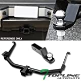 Topline Autopart Class 3 III Black 2' Rear Bumper Trailer Tow Hitch Towing Mount Receiver Tube With 2 Inch Drop Loaded Ball For 04 Nissan Pathfinder Armada / 05-15 Armada / 04-10 Infiniti QX56