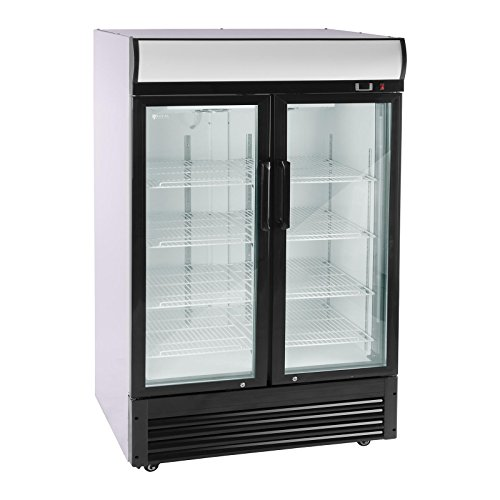 Royal Catering Nevera Expositora Para Bebidas RCGK-W880-2 (880 L, 350 W, 8 estantes de 53 x 39,5 cm, Puertas batientes de cierre automático, Rango de temperatura 2–8 °C)