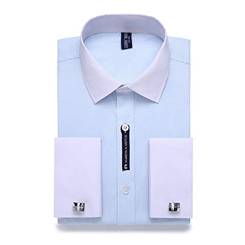 WJFGGXHK Camicie Uomo,Camicie da Uomo Casual Gemelli Francesi Camicia Elegante A Maniche Lunghe Colletto Bianco Stile Design Camicie da Uomo Azzurro Taglie Forti Abbigliamento Classico da Uomo, 4XL