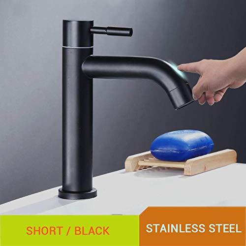 Waterkraan Badkamer Smart Touch Wastafelkraan Single Koud Automatisch Goud Tap Deck Mount Touch Sensor Kranen Roestvrij staal Moderne kranen-Zwart 2