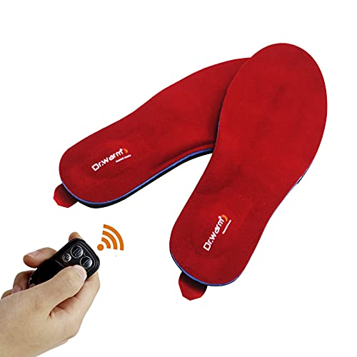 Dr.Warm Rechargeable Heated Insole with Remote Control Switch Wireless Foot Warmer for Hunting Fishing Hiking Camping Unisex Red L