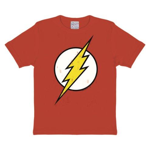 Logoshirt Camiseta para niño Flash - Logotipo, DC Comics - Flash - Logo - Camiseta con Cuello Redondo Rojo - Diseño Original con Licencia, Talla 104/116, 4-6 años
