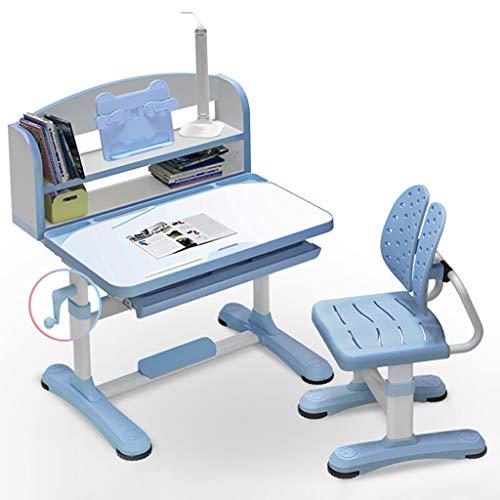 Regulowana wysokość dzieci domowe krzesło biurkowe zestaw wielofunkcyjny szkoła student pisanie biurko dzieci stół do nauki i krzesło zestaw z lampą, stojak na książki