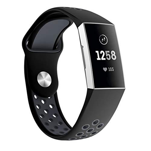 Fitbit Charge 3 バンド/ベルト Comtax 交換用バンド 柔らかいシリコンバンド 調整可能 多色選択 スポーツ 交換ベルド (L, ブラック+グレー)