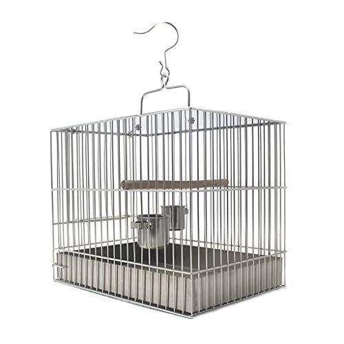 SSG Home La Jaula de pájaro de Interior y Exterior Nest Ornamental pájaro de Acero Inoxidable Creativo Cuadrado de la Jaula Decoración pequeño pájaro Suministros Cría de Mascotas (Color : 24cm High)