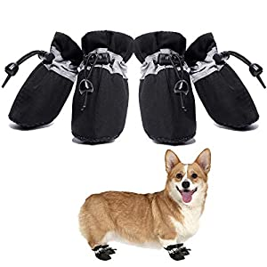 Dog Boots Anti-Slip Shoes Paw Protector for Small Medium Dogs and Puppies 4PCS for hot Pavement(Black/6)