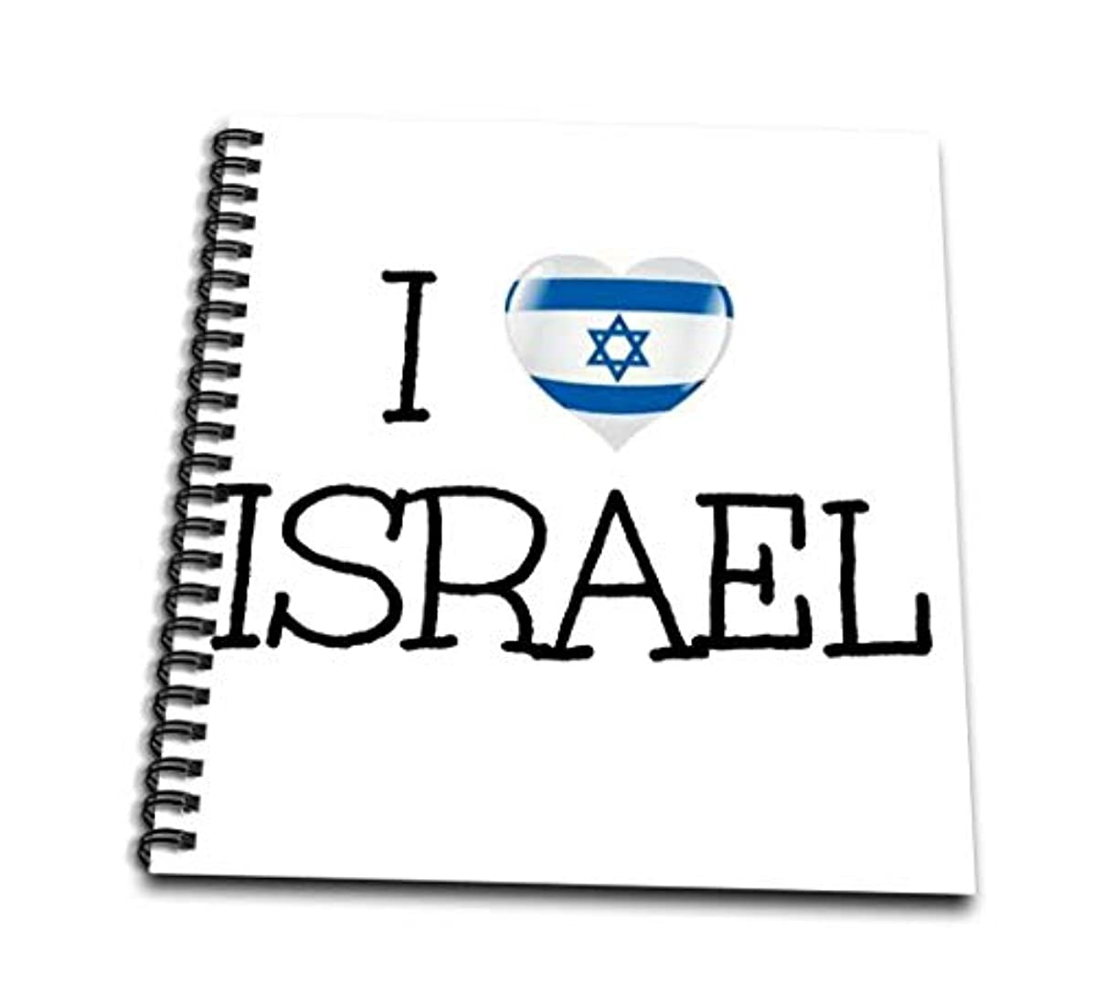 3dRose db_200647_2 I Love Israel Heart Picture with Israeli Flag in It Blue Letters Memory Book, 12 x 12