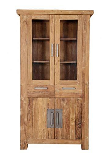 Sit Möbel 0440401 Holz-Vitrine recyceltes Teak 4 Türen 2 Schüben B/T/H 105 cm breit 45 cm tief und 200 cm hoch