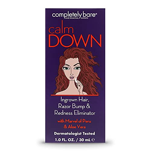 Completely Bare Calm Down Ingrown Hair, Razor Bump & Redness Eliminator- Aloe Vera & Witch Hazel, Skin Soothing, Reduce and Prevents Ingrowns, Irritation Free, Cruelty-Free & Paraben-Free Formula 1oz