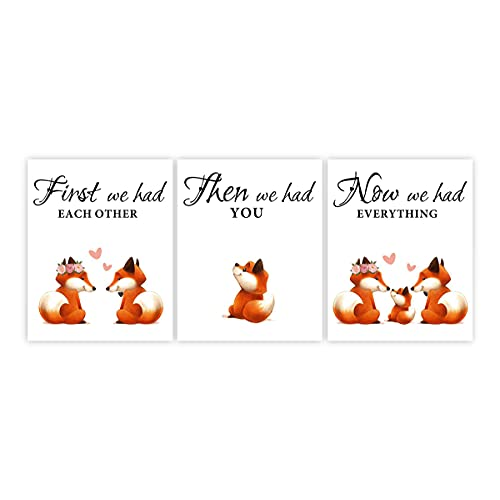 Fox Wall Art Woodland Animals Art Prints Fox Artwork Baby Animal Pictures for Nursery Fox Picture Little Baby Watercolor Animals Safari Prints for Kids Bedroom(8'x10' )Unframed